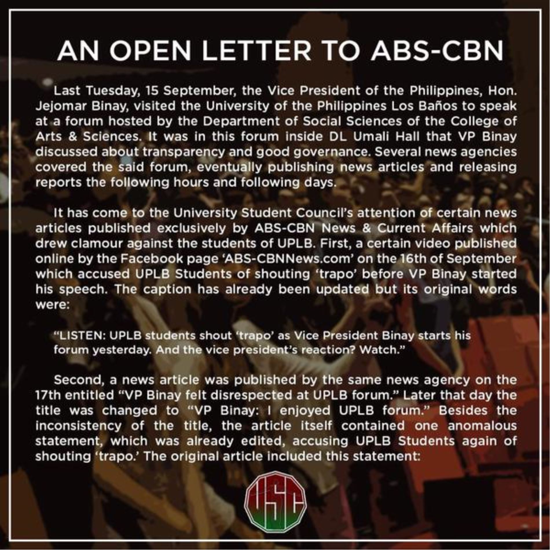 Campus Connect College Sports Entertainment Viral News: ABS-CBN News Apologized To University Of The Philippines