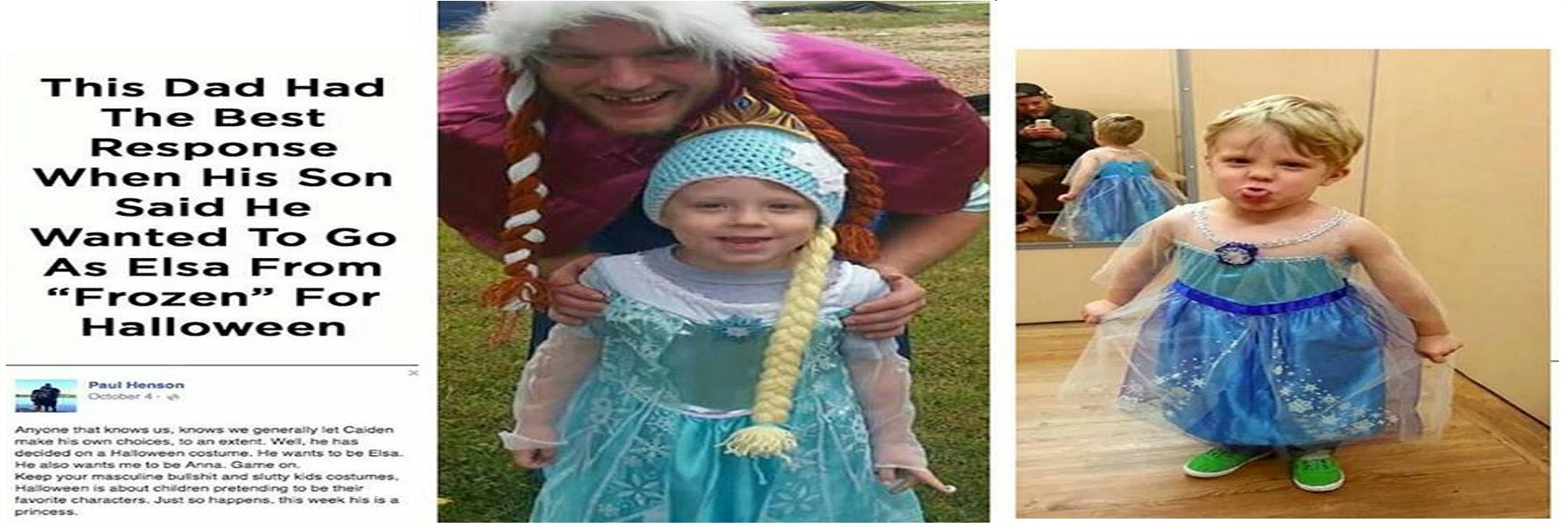 viral: father and son go as queen elsa and princess anna for