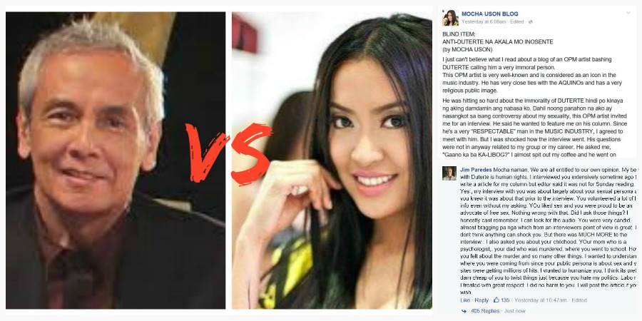 Jim Paredes Reacts To Mocha Uson's Blind Item On Facebook
