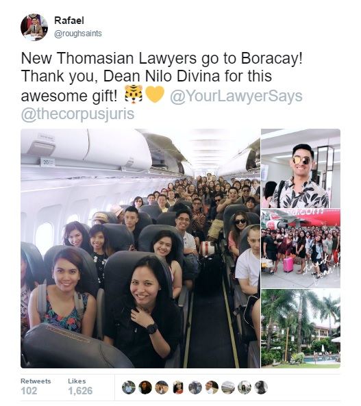 UST Dean sends Law Students to Boracay