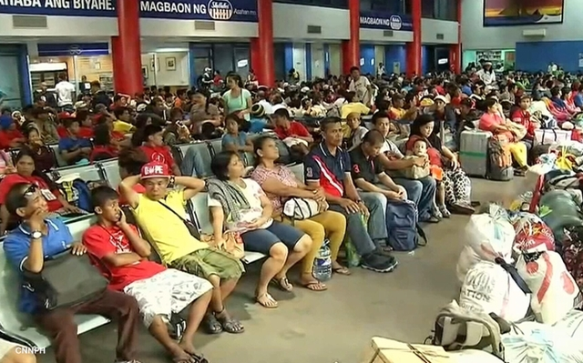 Manila Port packed with passengers.
