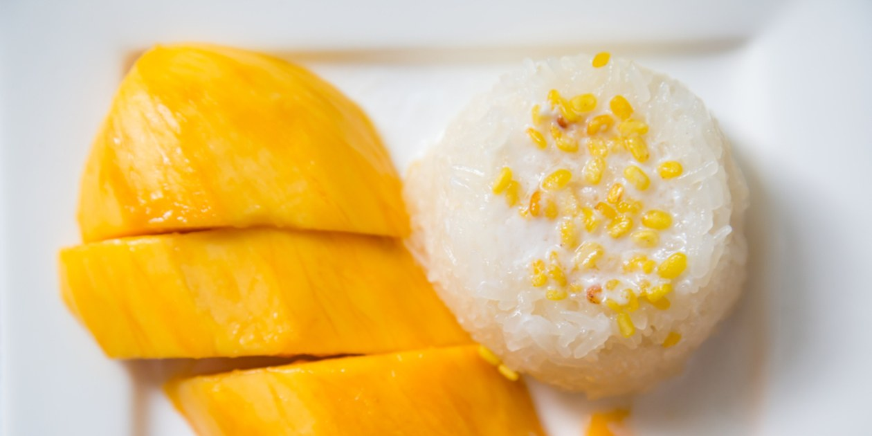 Glutinous rice cooked in coconut milk with mangoes.