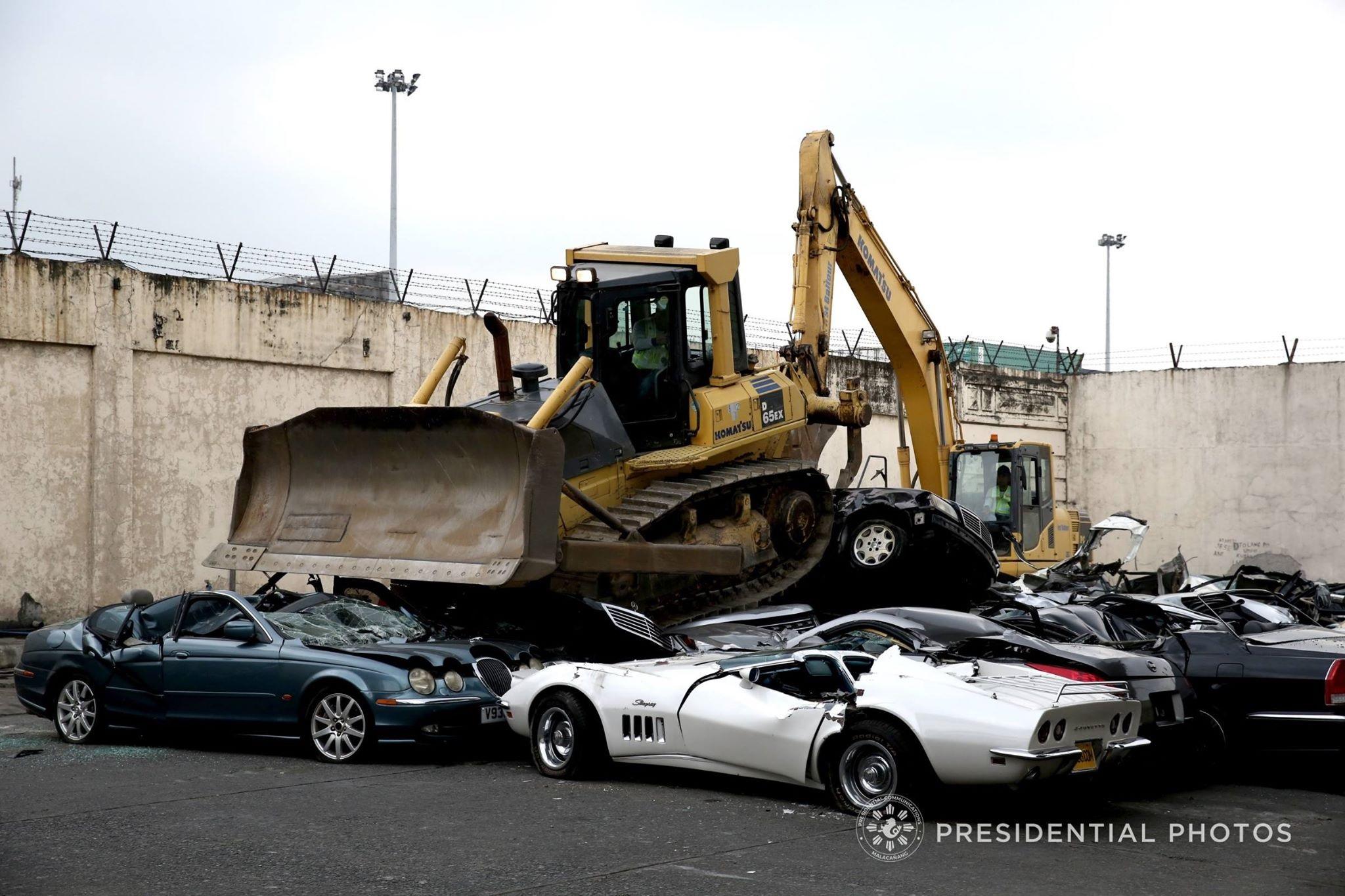 Presidential Auto Sales >> Pres. Rodrigo Duterte leads crushing of smuggled luxury cars at Bureau of Customs' 116th ...